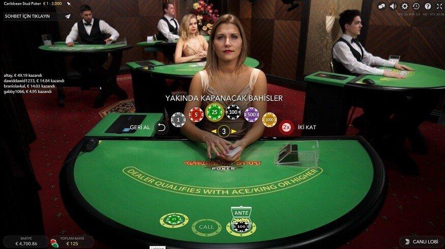 Caribbean stud poker canlı